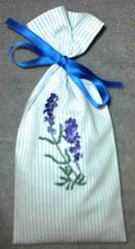 1 Lavendelsäckchen hellbau-weiß gestreift - Bild vergrößern